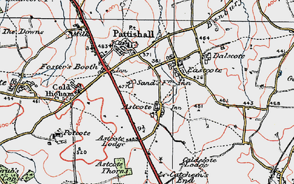 Old map of Astcote in 1919
