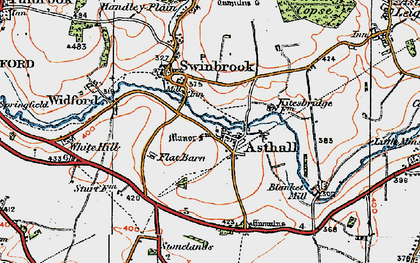 Old map of Asthall in 1919