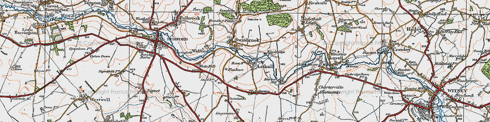 Old map of Widford in 1919