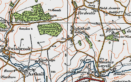 Old map of Asthall Leigh in 1919