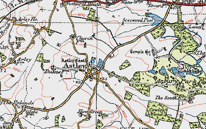 Old map of Astley Castle in 1920