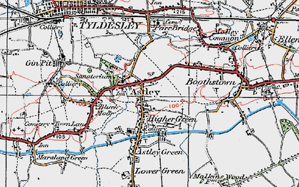 Old map of Astley in 1924