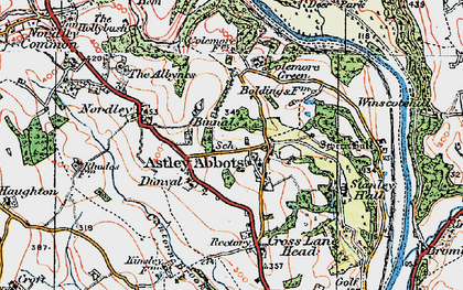 Old map of Astley Abbotts in 1921