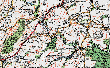 Old map of Astley Burf in 1920