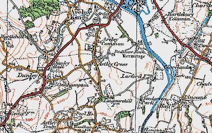 Old map of Astley Cross in 1920