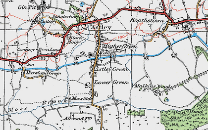 Old map of Astley Green in 1924