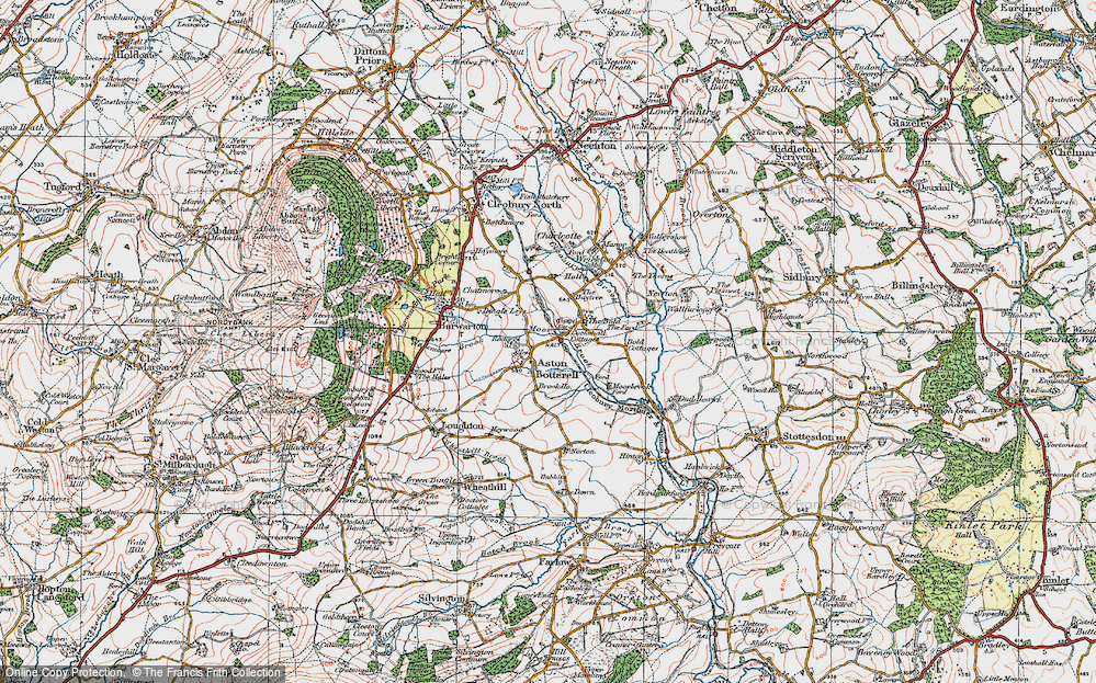 Old Map of Aston Botterell, 1921 in 1921