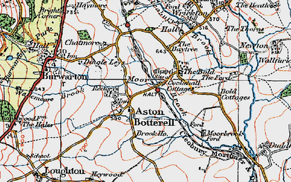 Old map of Aston Botterell in 1921