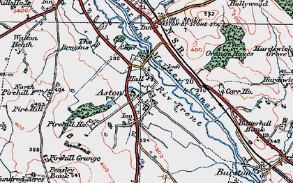 Old map of Aston-By-Stone in 1921