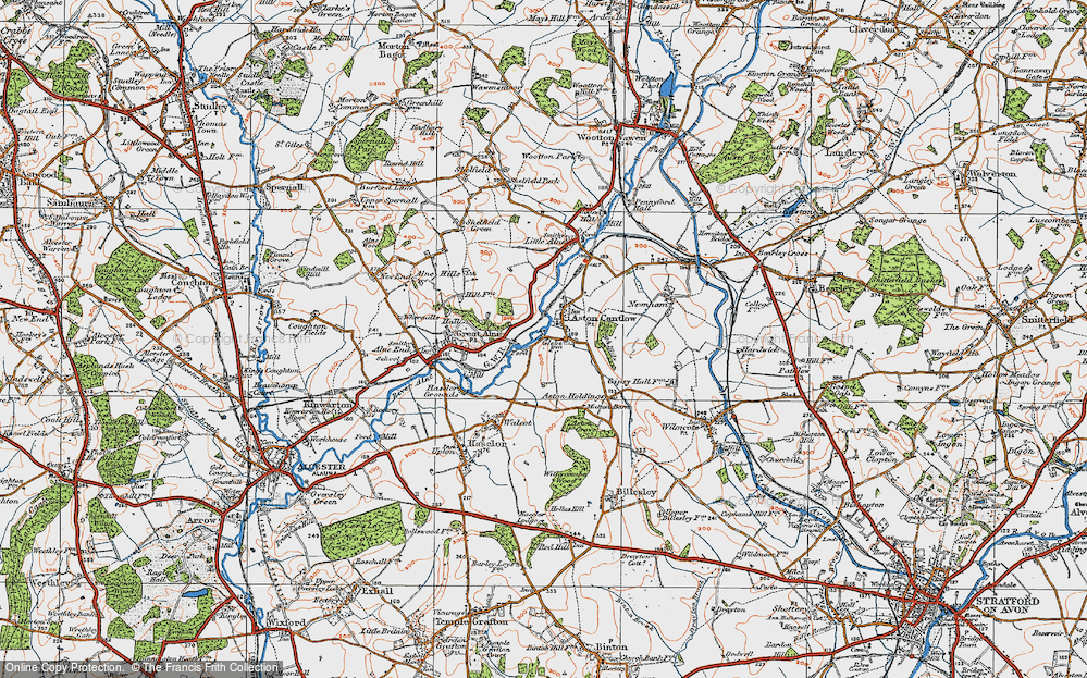 Old Map of Historic Map covering Aston Holdings in 1919