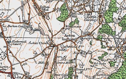 Old map of Aston Crews in 1919
