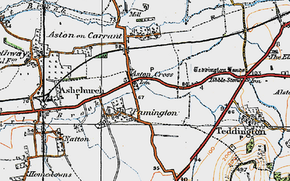 Old map of Aston Cross in 1919