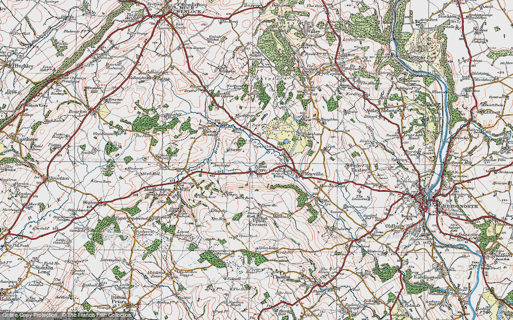 Old Map of Aston Eyre, 1921 in 1921