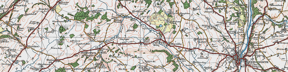 Old map of Aston Eyre in 1921