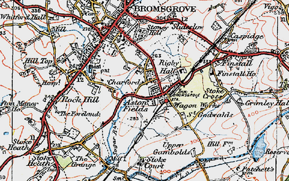 Old map of Aston Fields in 1919