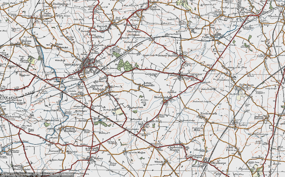 Old Map of Aston Flamville, 1920 in 1920