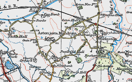 Old map of Aston juxta Mondrum in 1923