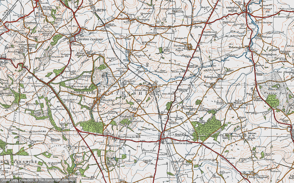 Old Map of Aston Magna, 1919 in 1919