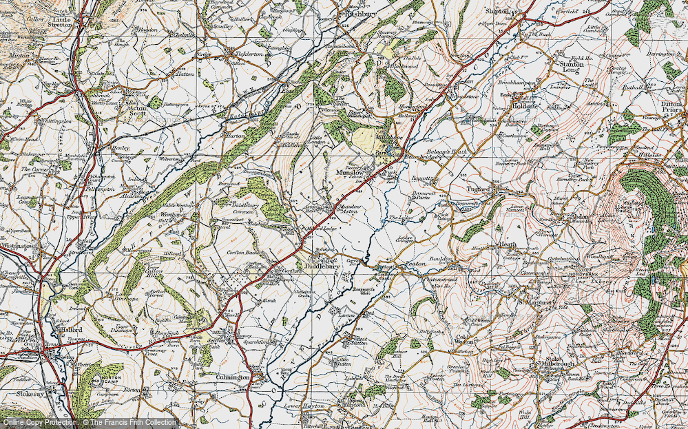 Old Map of Aston Munslow, 1921 in 1921