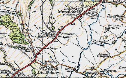Old map of Aston Munslow in 1921