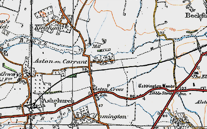 Old map of Aston on Carrant in 1919