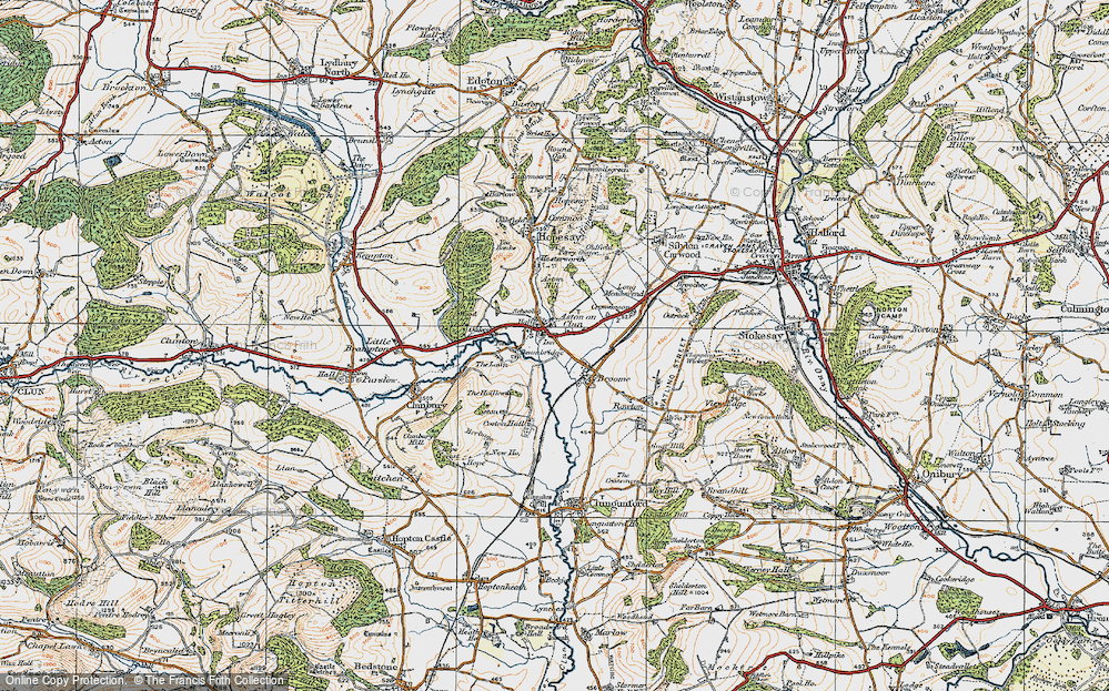 Old Map of Aston on Clun, 1920 in 1920