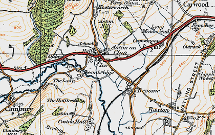 Old map of Aston on Clun in 1920