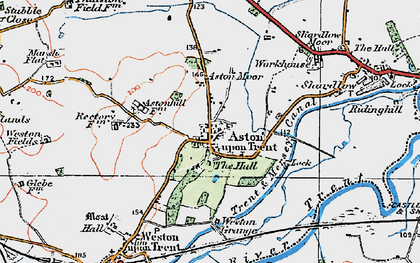 Old map of Aston-on-Trent in 1921