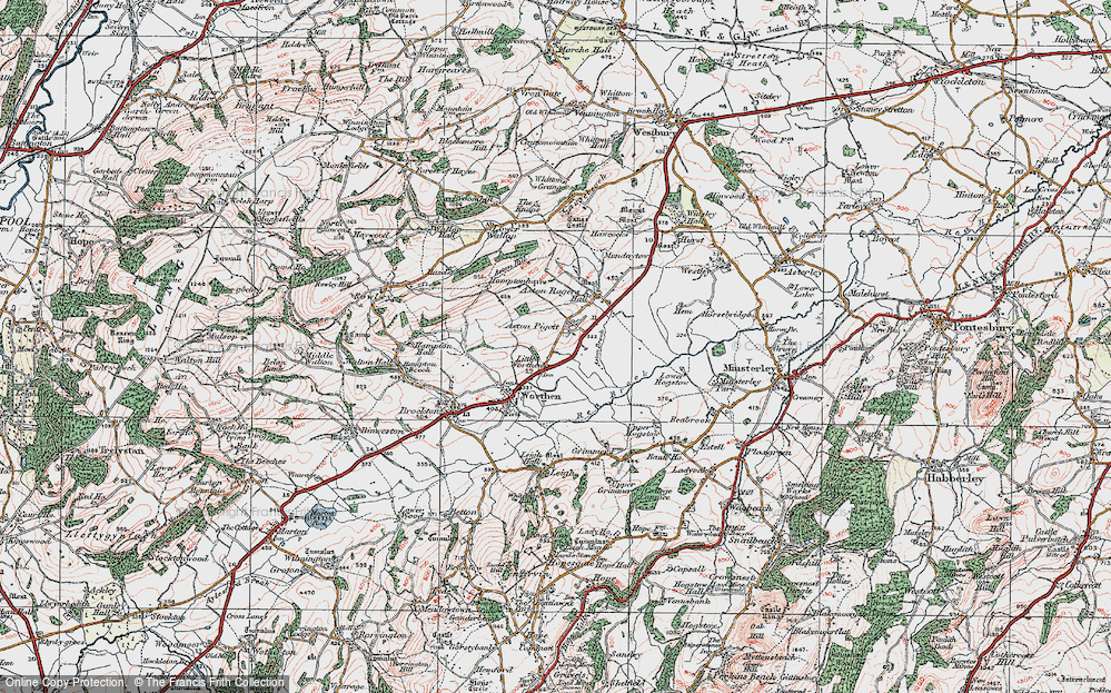 Old Map of Historic Map covering Aston Hill in 1921