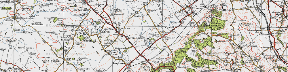 Old map of Aston Rowant in 1919