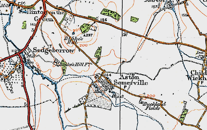 Old map of Aston Somerville in 1919
