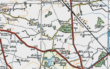Old map of Aston Hall in 1921