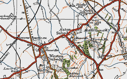 Old map of Aston Subedge in 1919