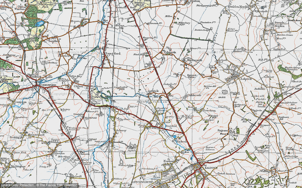 Old Map of Astwick, 1919 in 1919