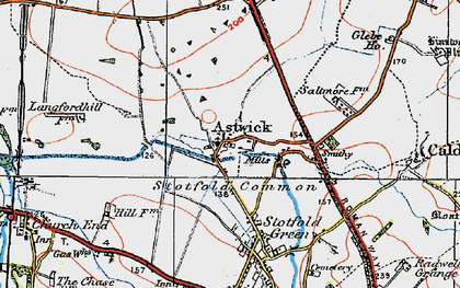 Old map of Astwick in 1919