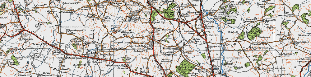 Old map of Astwood Bank in 1919
