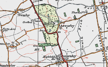 Old map of Aswarby in 1922
