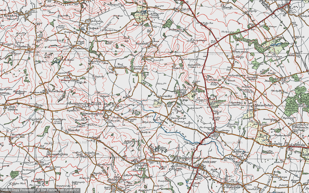 Old Map of Aswardby, 1923 in 1923