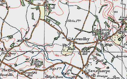 Old map of Aswardby Mill in 1923