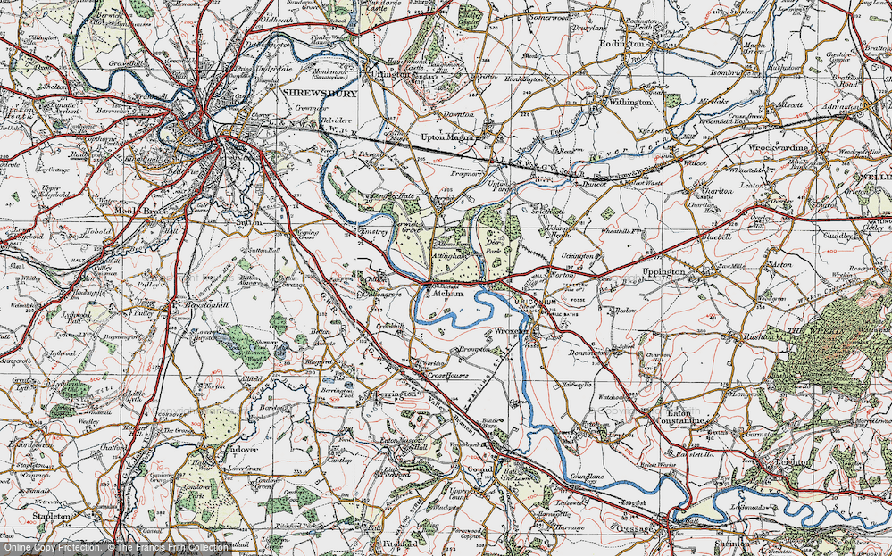Old Map of Atcham, 1921 in 1921