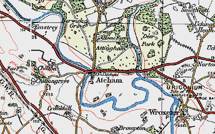 Old map of Atcham in 1921
