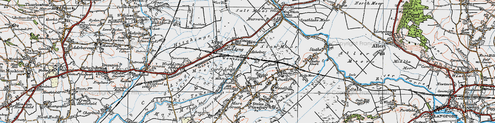 Old map of Athelney in 1919