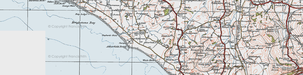 Old map of Whale Chine in 1919