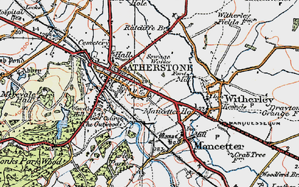Old map of Atherstone in 1921