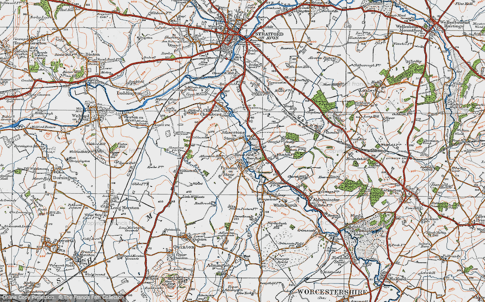 Old Map of Atherstone on Stour, 1919 in 1919