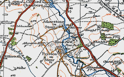 Old map of Atherstone on Stour in 1919