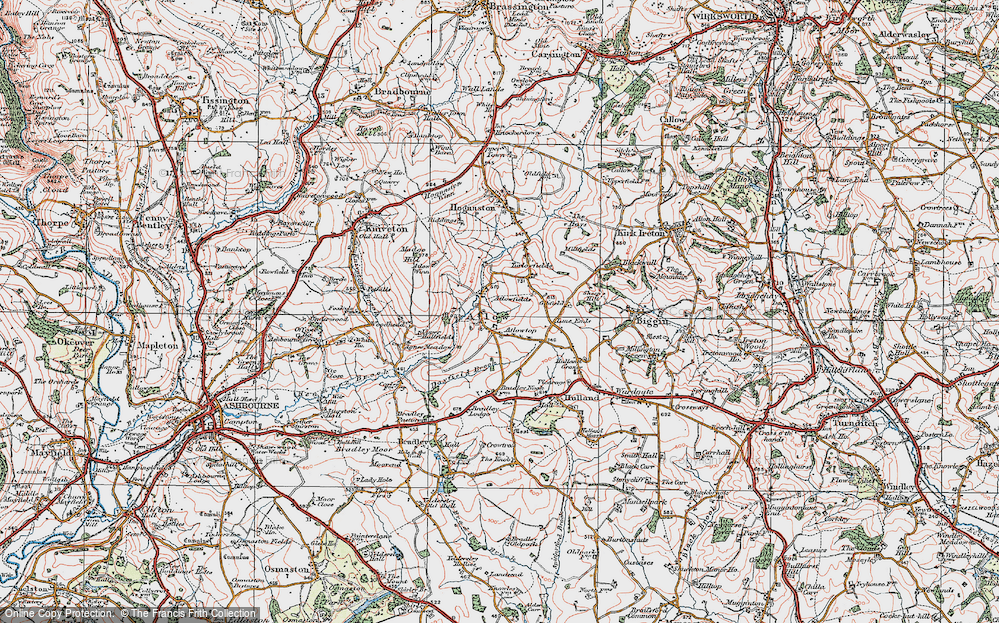 Old Map of Atlow, 1921 in 1921