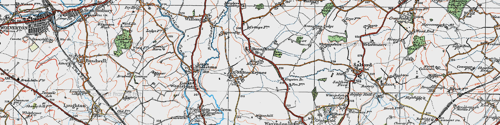 Old map of Willen Lake in 1919