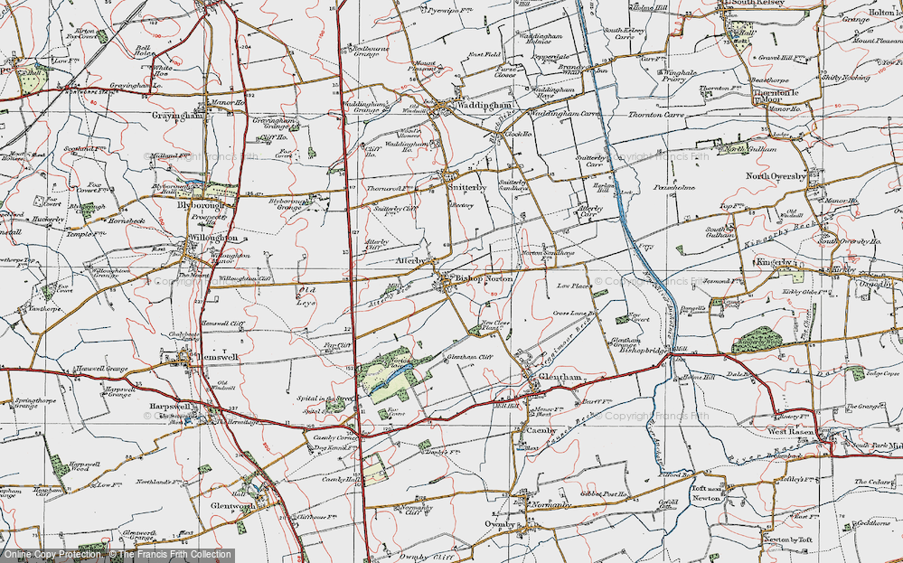 Old Map of Historic Map covering Atterby Carr in 1923