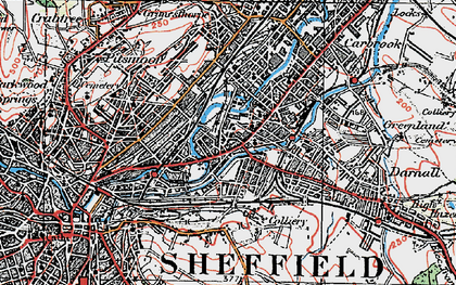 Old map of Attercliffe in 1923